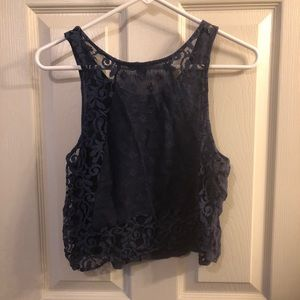 Forever 21 Navy Blue Lacey Tank